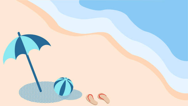 Landscape with umbrellas and beach balls on the beach vector art illustration