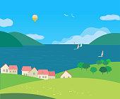 Landscape with village houses on seaside