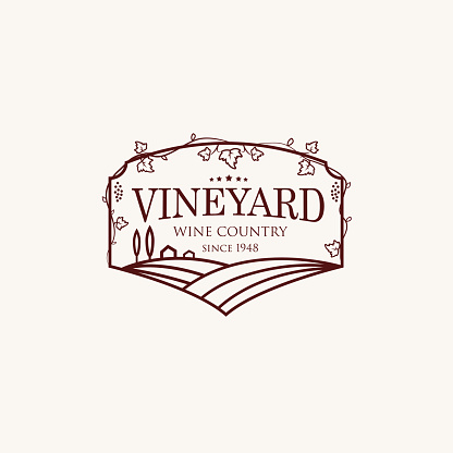Landscape with vineyard fields, villa, trees.