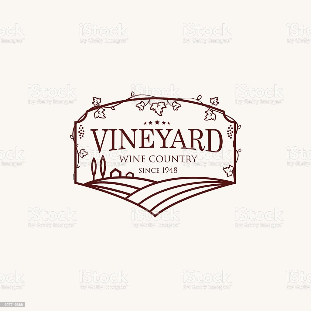 Landscape with vineyard fields, villa, trees. vector art illustration
