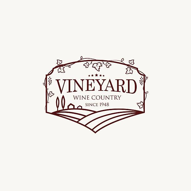 bildbanksillustrationer, clip art samt tecknat material och ikoner med landscape with vineyard fields, villa, trees. - vineyard