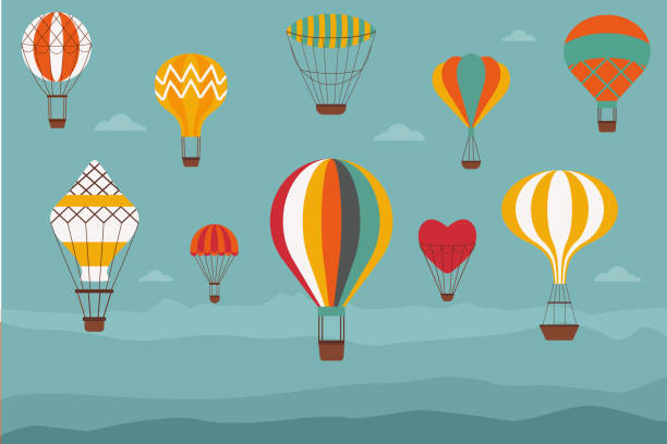 Landscape with Vintage Hot Air Balloons Landscape with hot air balloons. Vintage banner with retro aerostats of different shapes flying over the hills or mountains. Air craft adventure, romantic flight trip, touristic ballooning journey. hot air balloon stock illustrations