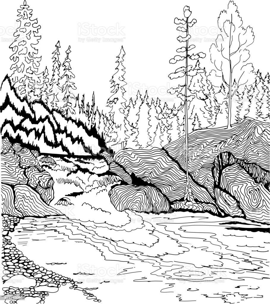 Ilustración De Paisaje Con Cascada Patrones Dibujados A Mano