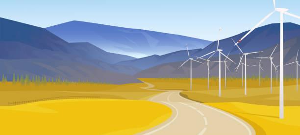 Landschaft mit Windgeneratoren. Landschaft mit einer Straße, die über den Horizont geht. Vektor-Illustration. EPS10 – Vektorgrafik