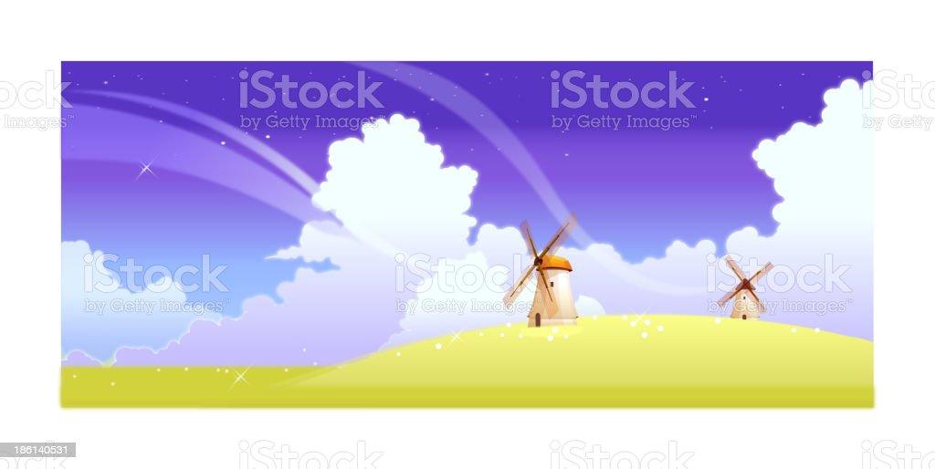 Landscape with windmills vector art illustration