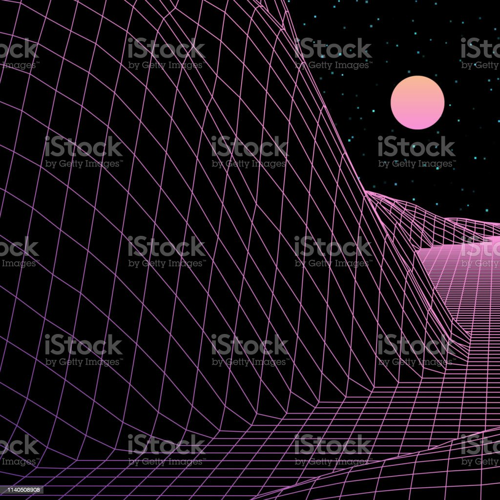 Landscape With Wireframe Grid Of 80s Styled Retro Computer