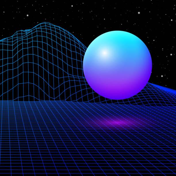 80'li model retro bilgisayar oyunu veya güneş ve dağlar ile bilim arka plan 3d yapısı tel kafes ızgara ile peyzaj - mountain top stock illustrations