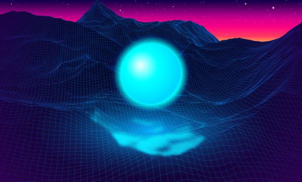 aydınlatma topu ile 80s tarz retro bilgisayar oyunu tel kafes ızgara ile manzara - mountain top stock illustrations