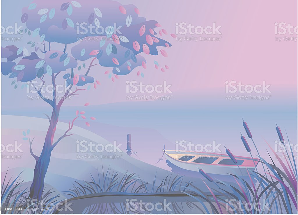 Landscape_Boat_Bulrush royalty-free stock vector art
