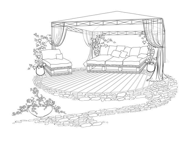 begrünten innenhof sofa regenschirm - gartensofa stock-grafiken, -clipart, -cartoons und -symbole