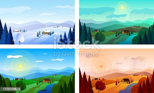 istock Landscapes at different times of the year. Vector illustration. 1223200614