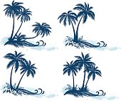 Set Tropical Landscapes, Palm Trees, Flowers and Grass Silhouettes and Sea Waves, Isolated on White Background. Vector
