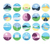 Colorful landscape with mountain vectors, lake and trees. This Landscapes Vector Icons set will make you want to go backpacking now and leave it all behind.