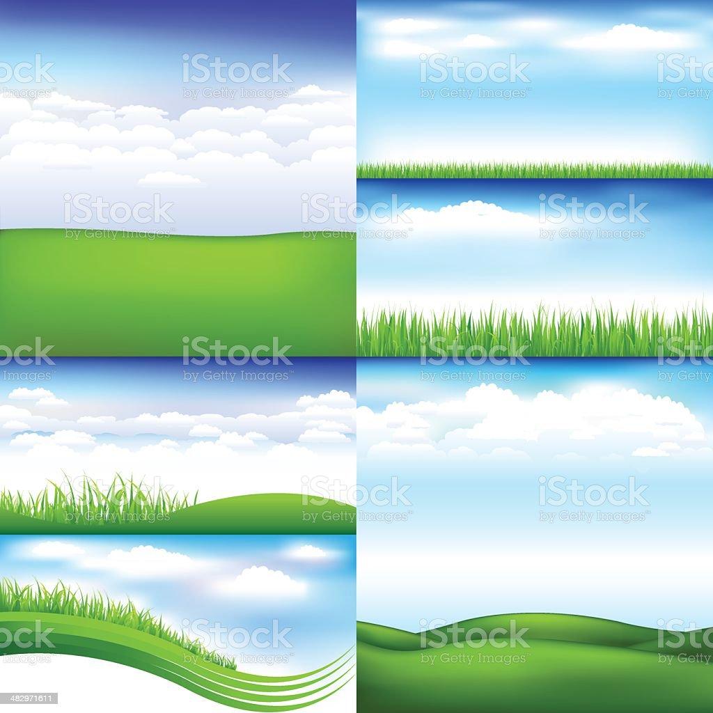 Landscapes vector art illustration