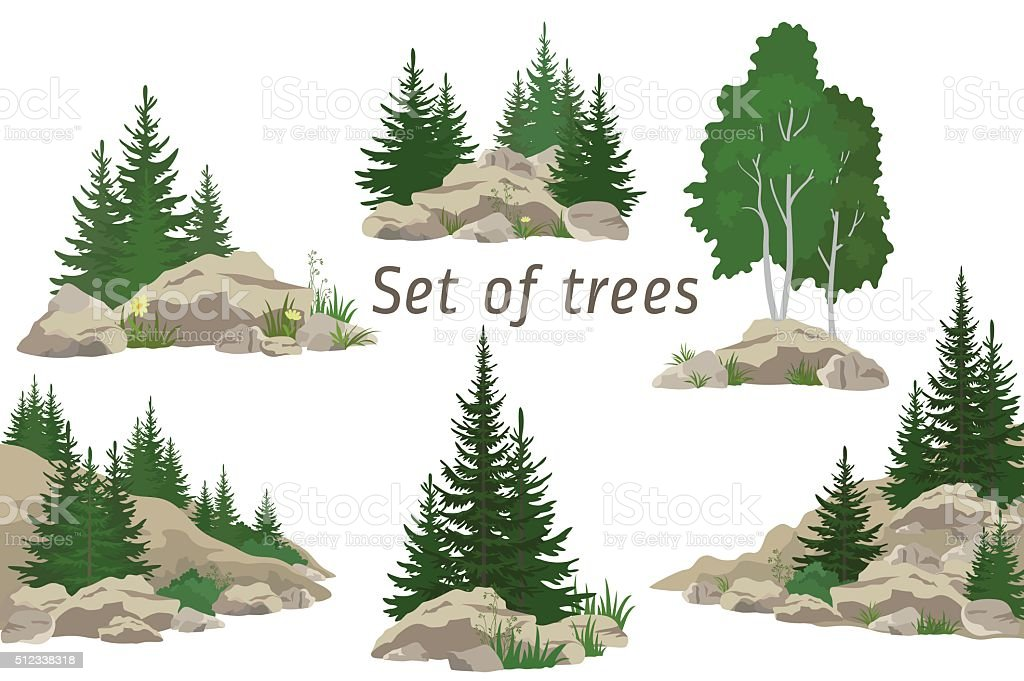 Landscapes with Trees and Rocks vector art illustration