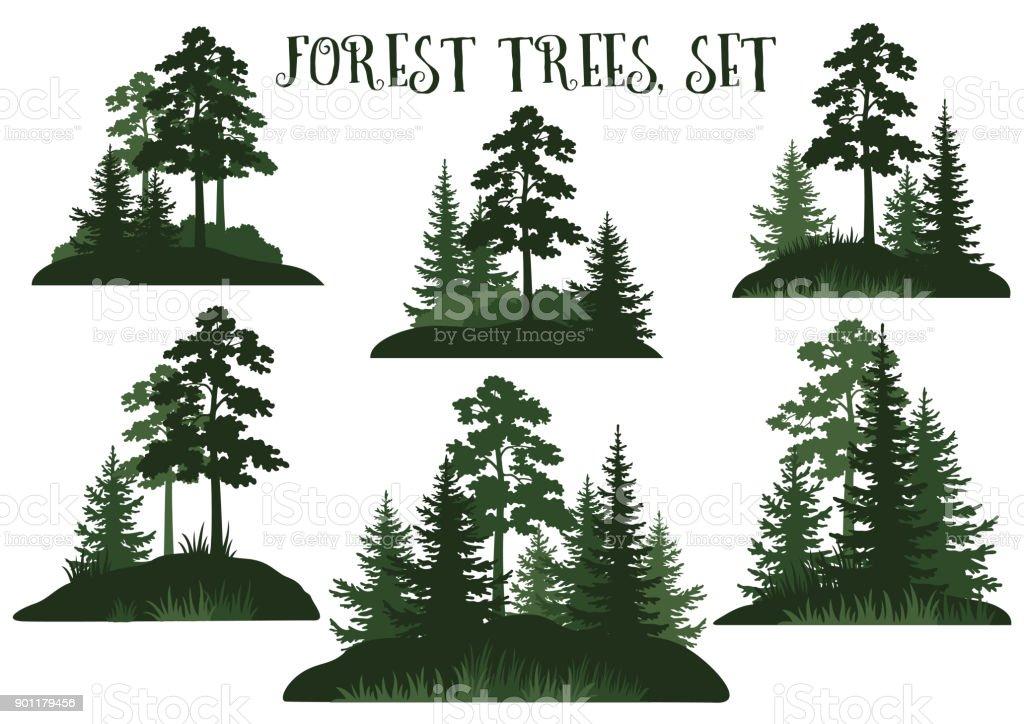 Landschaften mit Bäumen Silhouetten – Vektorgrafik