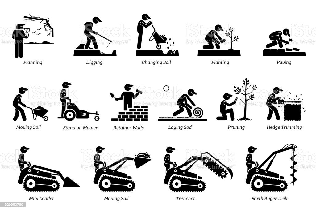 Landscaping and Horticulture Icons. vector art illustration