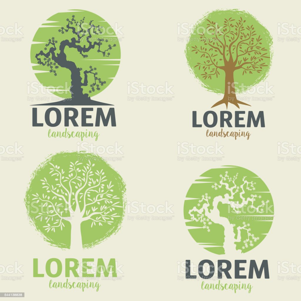 landscaping  emblem templates. Eco lifestyle sign template. vector art illustration