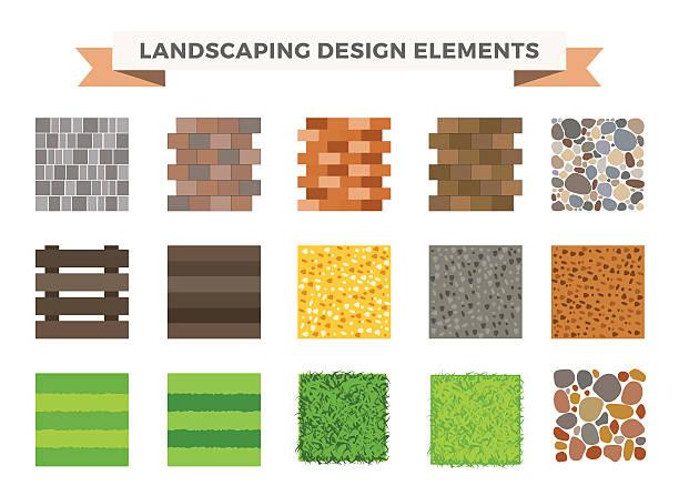 landschaft-garten-design-elemente - steinpfade stock-grafiken, -clipart, -cartoons und -symbole