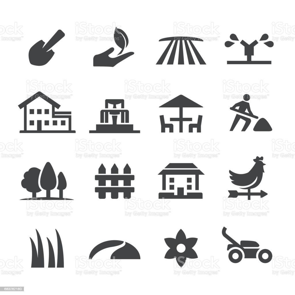 Landschaftsbau Icons - Acme-Serie Lizenzfreies landschaftsbau icons acmeserie stock vektor art und mehr bilder von ast - pflanzenbestandteil