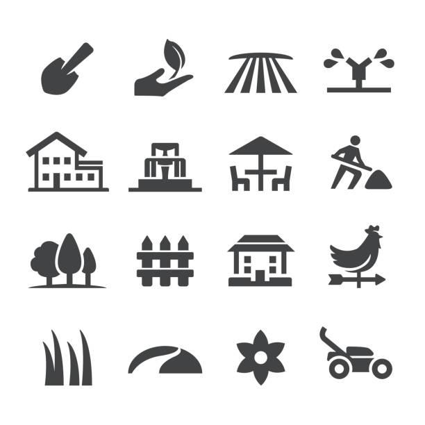 ilustraciones, imágenes clip art, dibujos animados e iconos de stock de jardinería los iconos - serie acme - backyard