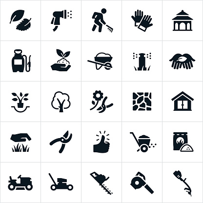 Icons related to. The icons include common landscaping equipment including lawnmowers, trimmers, leaf blower, edger, pruning shears, wheel barrow and fertilizer. The set of icons also includes a landscaper, water hose, work gloves, gazebo, weed sprayer, plants, trees, flagstone, shed, grass, green thumb and fertilizer.