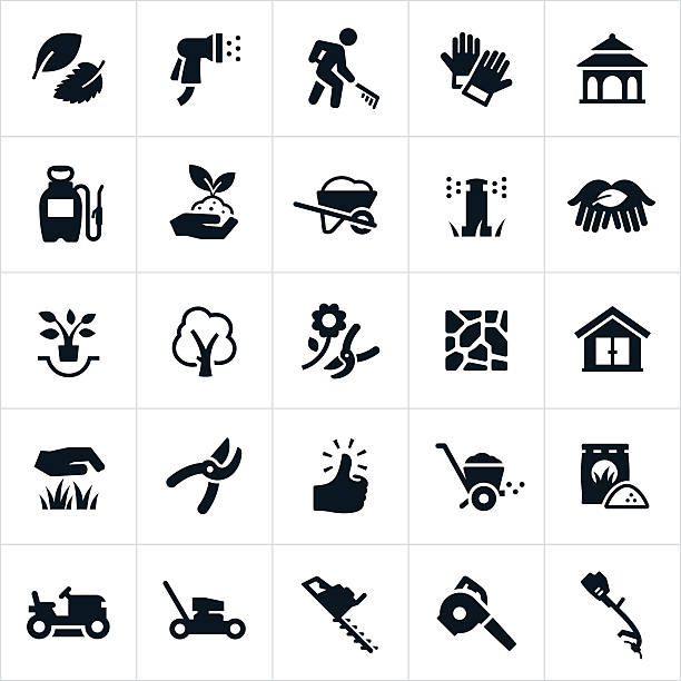 Landscaping Icons Icons related to. The icons include common landscaping equipment including lawnmowers, trimmers, leaf blower, edger, pruning shears, wheel barrow and fertilizer. The set of icons also includes a landscaper, water hose, work gloves, gazebo, weed sprayer, plants, trees, flagstone, shed, grass, green thumb and fertilizer. gardening stock illustrations