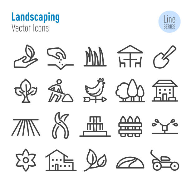 Landscaping Icons - Vector Line Series Landscaping, villa stock illustrations
