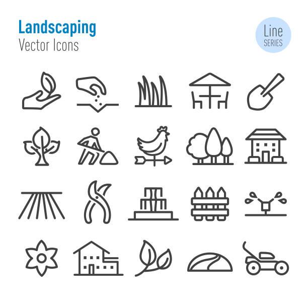 landschaftsbild icons-vector line series - villas stock-grafiken, -clipart, -cartoons und -symbole