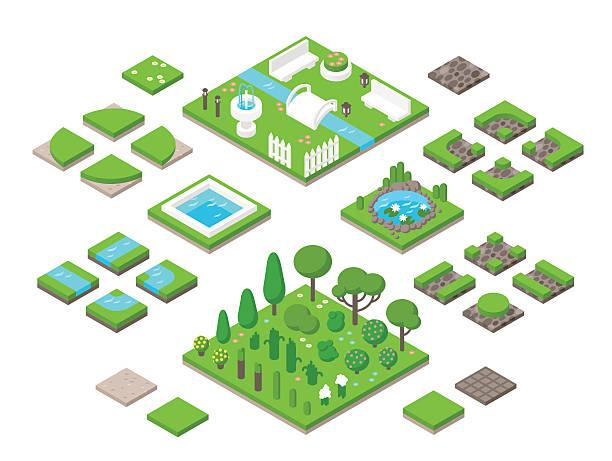 ilustrações, clipart, desenhos animados e ícones de paisagismo jardim isometric elementos de design 3d - horta