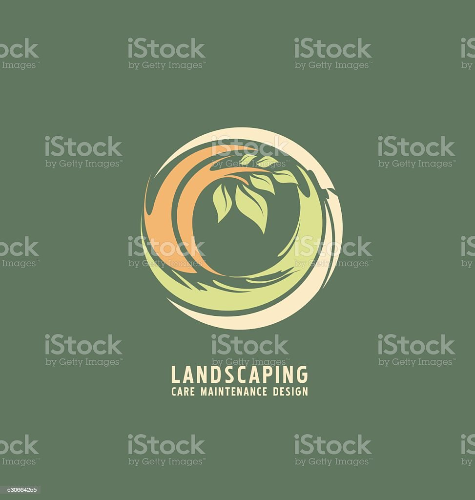 Landscaping logo design template vector art illustration