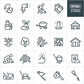 A set of landscaping icons that include editable strokes or outlines using the EPS vector file. The icons include leaves, sprayer watering, person raking, work gloves, tank sprayer, soil, plant, wheel barrow, sprinkler, water irrigation, gazebo, planting, tree being planted, tree, flower with pruners, pavers, stone patio, shed, grass, lawn, flowers, green thumb, fertilizer spreader, fertilizer, riding lawn mower, lawn mower, hedge trimmer, leaf blower, grass trimmer and yard equipment to name a few.