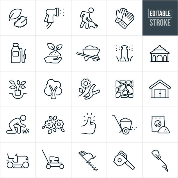 Landscaping Thin Line Icons - Editable Stroke A set of landscaping icons that include editable strokes or outlines using the EPS vector file. The icons include leaves, sprayer watering, person raking, work gloves, tank sprayer, soil, plant, wheel barrow, sprinkler, water irrigation, gazebo, planting, tree being planted, tree, flower with pruners, pavers, stone patio, shed, grass, lawn, flowers, green thumb, fertilizer spreader, fertilizer, riding lawn mower, lawn mower, hedge trimmer, leaf blower, grass trimmer and yard equipment to name a few. shed stock illustrations