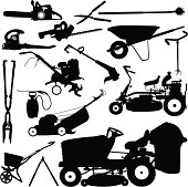 """Landscaping Tools. Tight silhouette illustrations of Landscaping Tools, Lawn Mower, Pruners, Wheelbarrow, spreader, tiller, leaf blower, chain saw. Color changes a snap. Check out my """"Spring Garden Vector"""" light box for more."""