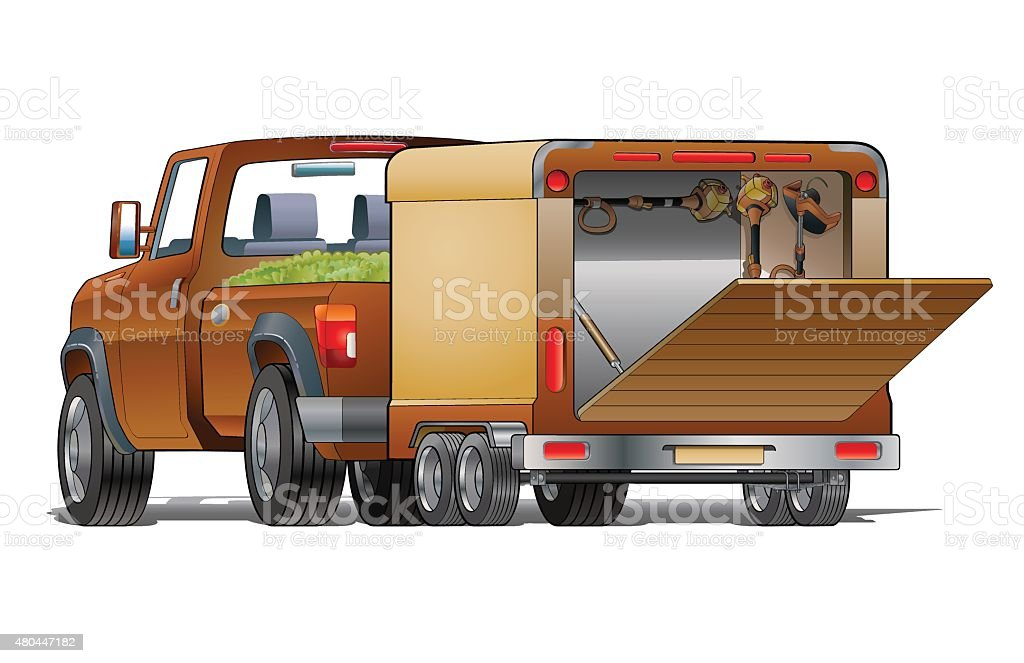 Landscaping truck vector art illustration