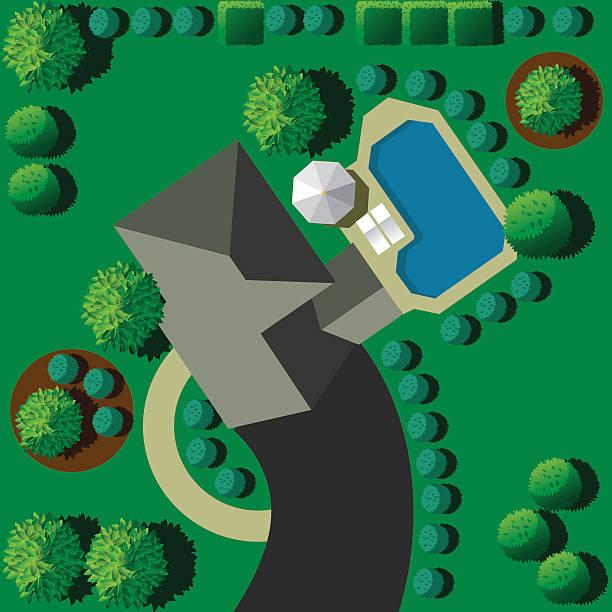 landschaft mit haus und pool - gartensofa stock-grafiken, -clipart, -cartoons und -symbole