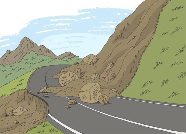 Landslide graphic color mountains landscape sketch illustration vector Landslide graphic color mountains landscape sketch illustration vector avalanche stock illustrations