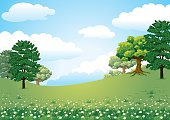 Beautiful and idyllic vector illustration of a pasture hill in a summer day