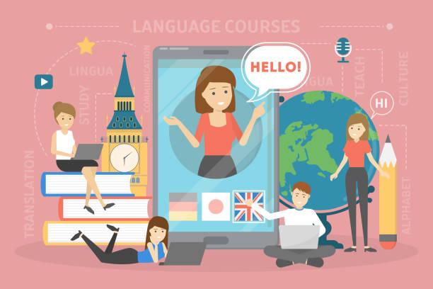 언어 코스 개념입니다. 외국어 공부하기 - 잉글랜드 문화 stock illustrations