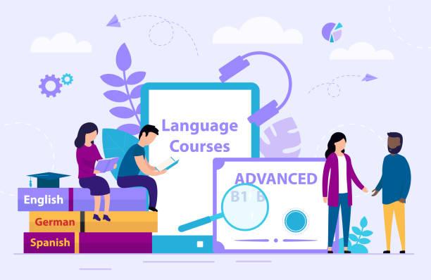 언어 코스 개념. 작은 사람들은 그룹에서 온라인으로 외국어를 배우고 있다. 외국어 학습에 대한 웨비나. 만화 플랫 스타일입니다. 벡터 일러스트레이션 - 잉글랜드 문화 stock illustrations