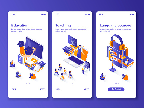 Language courses isometric GUI design kit. Distance education, online teaching templates for mobile app. E-learning platform UI UX onboarding screens