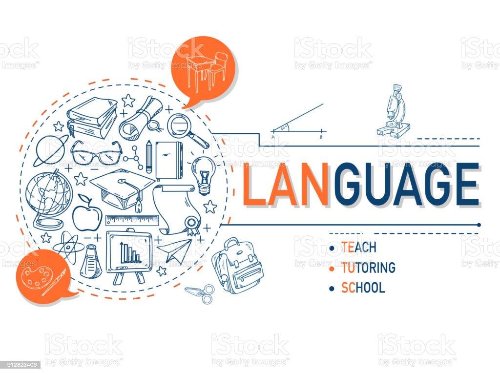 Língua ícones coleção ilustração design.vector - ilustração de arte em vetor