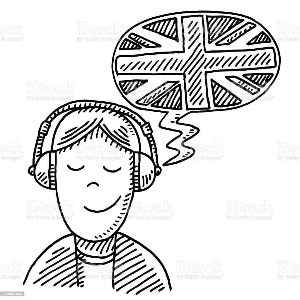 Fremdsprachen Kopfhörer Zeichnen Stock Vektor Art und mehr Bilder ...