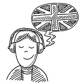 Language Learning Headphones Drawing