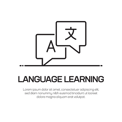 Language Learning Vector Line Icon - Simple Thin Line Icon, Premium Quality Design Element