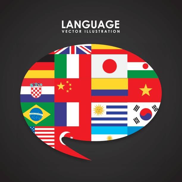 poster diseño de idioma - ilustración de arte vectorial
