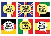 Language school banners set