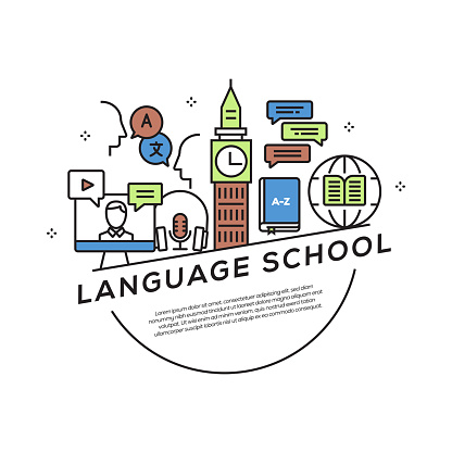 Language School Concept Flat Line Icons