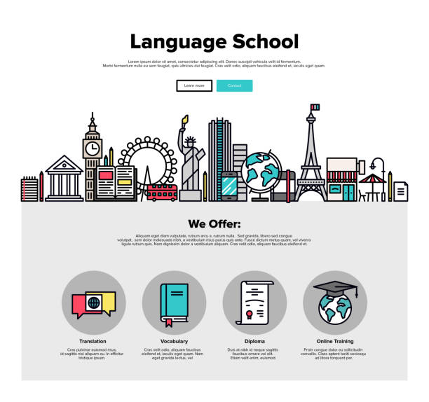 sprache schule flache linie web-grafiken - reiseliteratur stock-grafiken, -clipart, -cartoons und -symbole