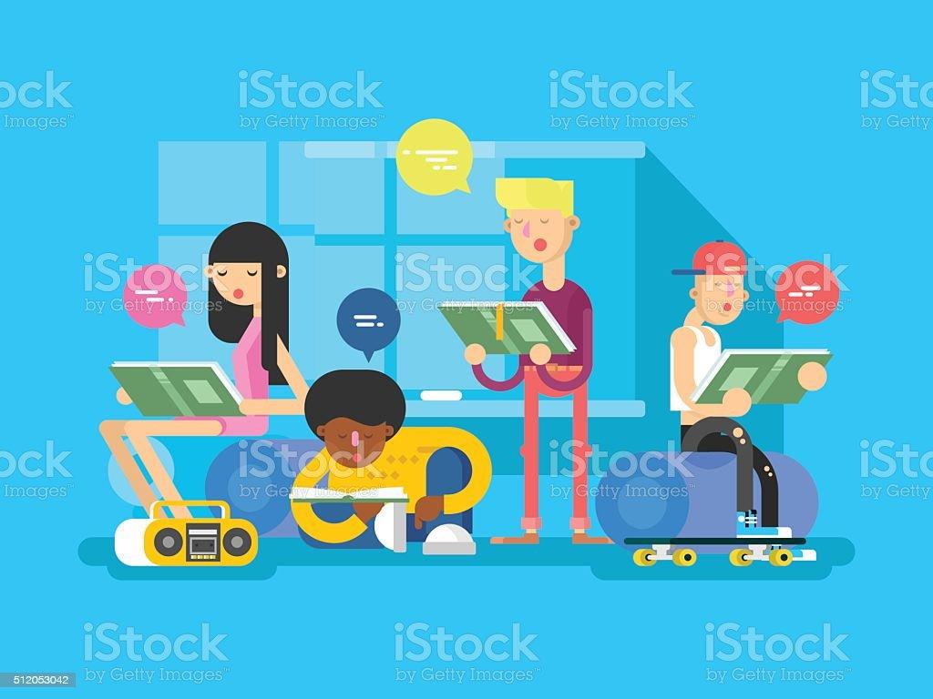 Idioma escuela estudiante de grupo - ilustración de arte vectorial